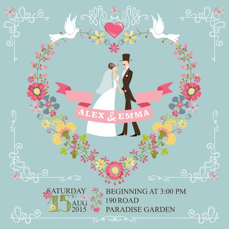 Wedding invitation with floral wreath in heart form,cartoon couple groom and bride,swirling border. Cute retro style with vignettes,ribbons,pigeons.Vintage Vector design template