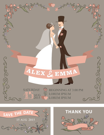 spring coat: Wedding invitation with Cute cartoon couple groom and bride in retro style.Floral doodle decor,wreath , border. Vintage Vector design template set.Save date,thank you card.Flowers corner