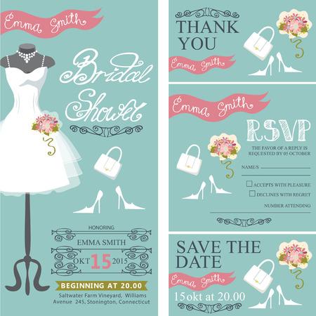 Vestido De Encaje De La Boda Set.Bridal Invitación Nupcial Ducha ...