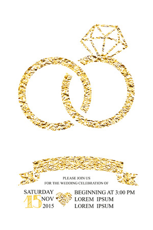 ribon: Wedding invitations with gold glitter foil texture ring. Trendy Wedding, marriage, bridal, birthday, Valentines day. Simple silhouette. Isolated. Ornate Vector