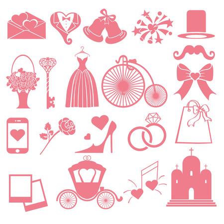 Platte bruiloft pictogrammen, symbolen voor web en Mobile.Set van de bruiloft items, roze silhouette.Vintage vector.Holiday infographics