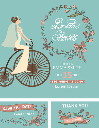 save the date: Vintage  wedding.Bridal shower set.Cute cartoon  bride in white dress on retro bicycle.Decor elements ,ribbons, text,floral element.Retro Vector design template, invitation,save date, thank card