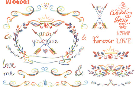 wedding design template set with floral decor swirling border