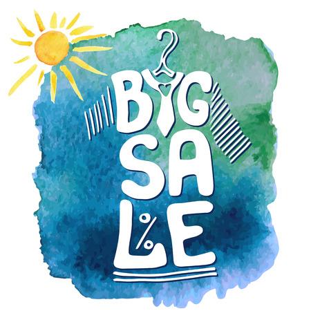 Summer Big Sale letters in tee shirt shape.Lettring, waterverf gele zon, blauwe splash.Typographic achtergrond design.Shirt opknoping op hanger.Fashion vector Illustration.For poster, sticker, web, print Stock Illustratie