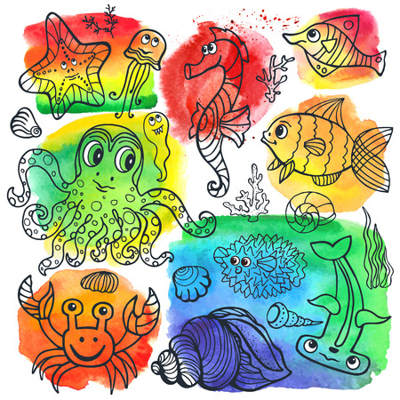 stein: Vector summer background.Sea life animals set with watercolor stein,splash.Funny Fish, octopus,crab,seahorse .Cartoon doodle underwater world.Baby hand drawing travel, tropical composition.
