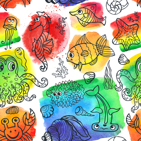Vector summer seamless pattern.Sea life animals set with watercolor stein,splash background.Funny Fish, octopus,crab,seahorse .Doodle underwater world.Baby hand drawing travel, tropical composition. Illustration