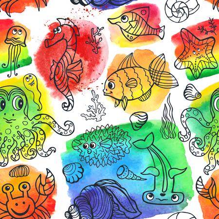 cangrejo caricatura: Vector verano animales vida pattern.Sea fisuras establecidos con la acuarela stein, salpican background.Funny pescado, pulpo, cangrejo, seahorse .Doodle viajes dibujo submarina mano world.Baby, composici�n tropical.