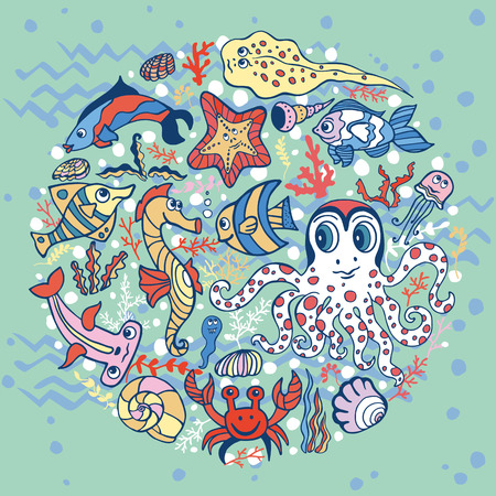 cartoon seahorse: Sea life animals circle set, fish  and octopus, crab with seahorse with coral,seaweed and shell. Funny cartoon doodle underwater world. Baby hand drawing Vector. Summer travel, tropical composition,background.