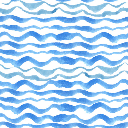 Watercolor seamless pattern border. Blue cyan horizontal strips.Water, sea ,ocean wave  Hand drawing painting background .For Backdrop background,fabric or Wallpaper.Vector.Summer,travel, vacation design.