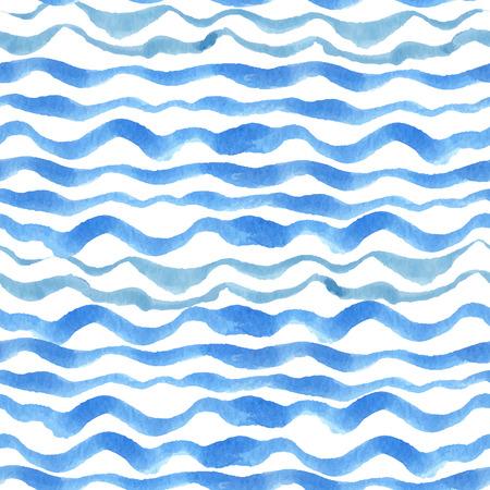 vague ocean: Aquarelle seamless fronti�re. Bleu strips.Water cyan horizontale, mer, vagues de l'oc�an peinture de dessin � la main fond .Pour backdrop, tissu ou Wallpaper.Vector.Summer, Voyage, de la conception de vacances.