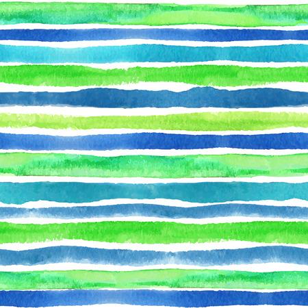 azul turqueza: Acuarela frontera patrón transparente. Azul, verde, turquesa onda strips.Sea horizontal y agua Mano de dibujo pintura de fondo, un contexto o tela, Wallpaper.Vector.Travel, diseño vacaciones.