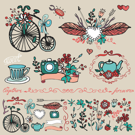 photocamera: Doodle floral group set.Colored hand sketch vintage decor elements.Flowers,swirls border,branches,retro bicycle and photocamera,tableware,bow and lettering .For card,invitation.Cute nature Vector Illustration