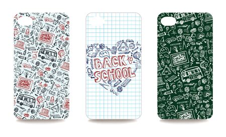 clipping mask: Set of  mobile phone cover with School Supplies Sketchy Notebook Doodles. The visible part of the clipping mask. The sample is ready for printing after the release clipping mask.Vector illustration