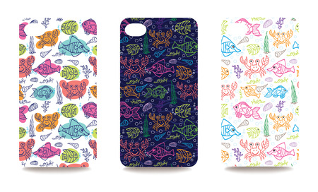 variability: Set funny sea life ornament for mobile phone cover. The visible part of the clipping mask. The sample is ready for printing after the release clipping mask.Vector illustration