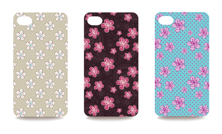 clipping mask: Set of fashionable floral ornaments for mobile phone cover. The visible part of the clipping mask. The sample is ready for printing after the release clipping mask.Vector illustration Illustration