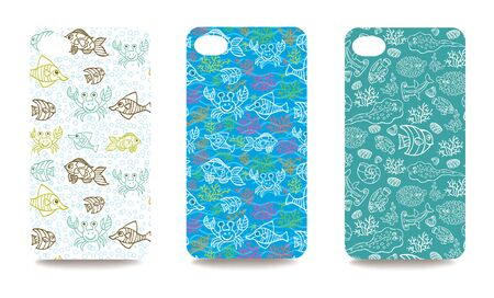 clipping mask: Set funny sea life ornament for mobile phone cover. The visible part of the clipping mask. The sample is ready for printing after the release clipping mask.Vector illustration