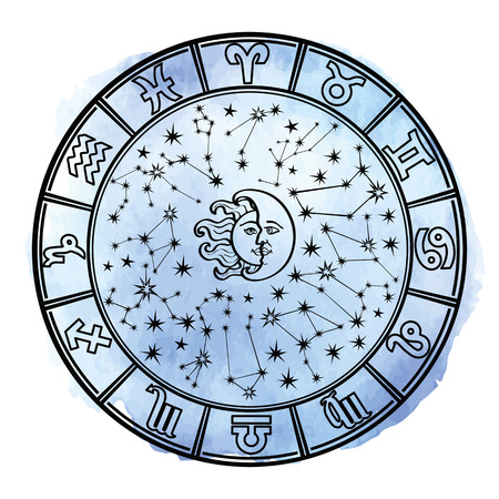 moon and stars: Circle with Zodiac sign. Horoscope constellation, stars ,sun and moon. Cyan Watercolor stein, hand painting spot, sky.White background. Artistic Vector  Illustration.