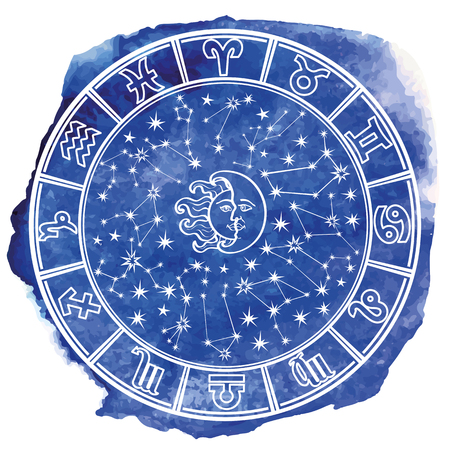 stein: Circle with Zodiac sign.Horoscope constellation,stars ,sun and moon.Blue Watercolor stein,hand painting spot,sky.White background.Artistic Vector  Illustration.
