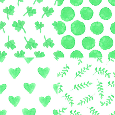 petal: Watercolor artistic  green seamless pattern set.Clover  leaves,branches,polka dot ,heart.Simple petal Hand drawing background,wallpaper,fabric,backdrop. Vector,painting texture.Summer,spring