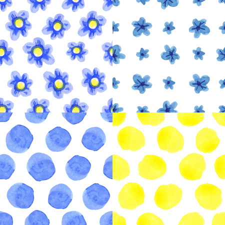 polka dot fabric: Watercolor artistic  blue flowers,polka dot seamless pattern set.Simple floral Hand drawing Baby style background,wallpaper,fabric,backdrop.Vintage vector,painting texture.Summer,spring
