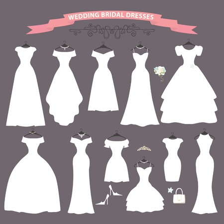 The composition ofDifferent styles of wedding dresses made in modern flat vector style.Composition with handbag, high heel shoes on grey background. Fashion  bridal vector Illustration