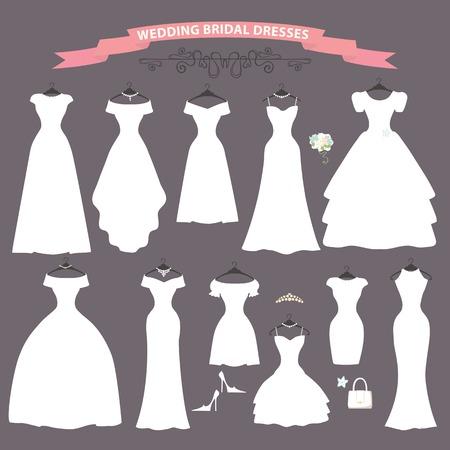 Les styles de composition ofDifferent de robes de mariée faites dans le vecteur style.Composition plat moderne avec sac à main, chaussures à talons hauts sur fond gris. Vecteur Illustration de mode nuptiale