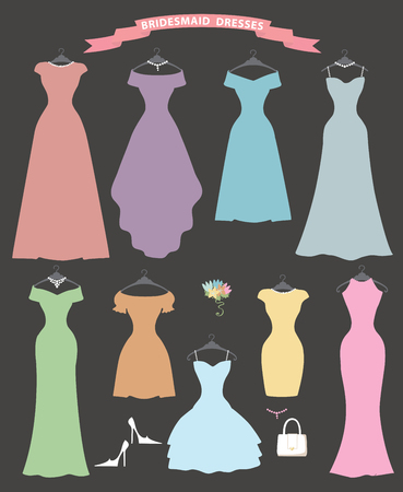 bridesmaid: The composition of Different styles of wedding bridesmaid dresses in modern flat vector style.Composition with handbag, high heel shoes on grey background. Fashion  bridal vector Illustration .Party dresses Illustration