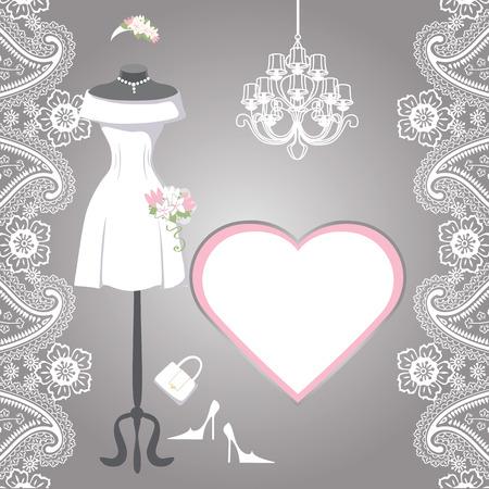 short dress: The composition of females wedding short dress,Bridal veil,handbags ,high heel  shoes,chandelier,label,paisley border. Bridal shower.Fashion vector Illustration