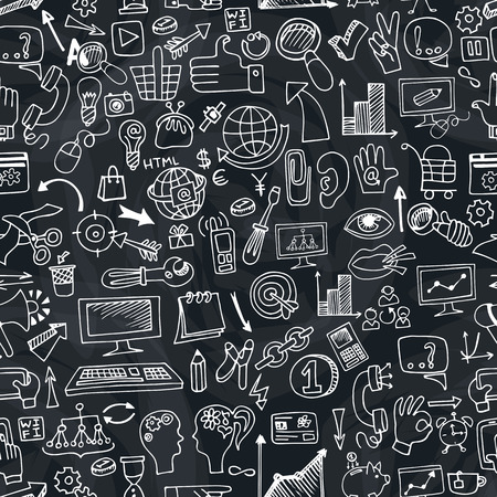 drow: Doodle hand drow  sketchy seo  icons  in seamless pattern.Business concept on chalkboard background. For wallpaper,backdrop,background.Vector illustration Illustration