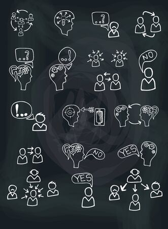 intercourse: Doodle hand draw scheme communication , Business  Concept of human intelligence with sketchy icons on chalkboard background. Brain storming. Vector illustration Illustration
