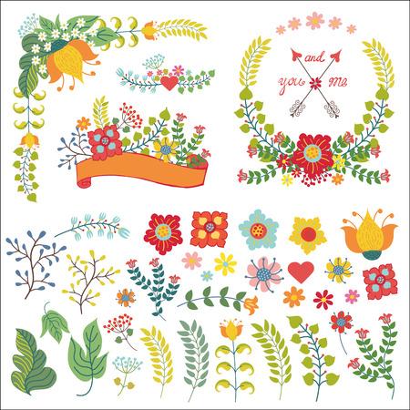 Bloemen, bessen, brnches decor.Floral gestileerde samenstelling, boeket, krans, geïsoleerde set Vintage die ontwerp sjabloon, vakantie en bruiloft uitnodiging, Valentijn of moeder dag, pasen card.Vector