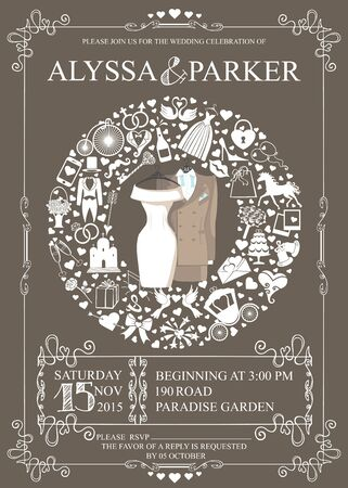 save the date: Wedding invitation card with wedding garment and icons in Wreath composition ,swirling frame.Set of holiday flat items.Vintage vector.Holiday infographics,background,save date card.