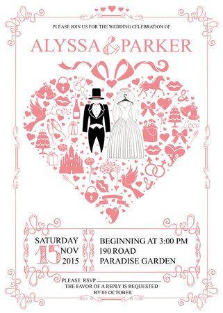 save the date: Wedding invitation card with wedding garment and icons in heart composition ,swirling frame.Set of holiday flat items.Vintage vector.Holiday infographics,background,save date card. Illustration