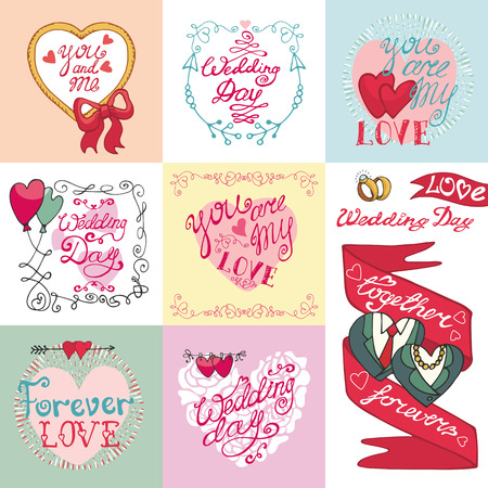 marriage invitation: Wedding day,love and romantic invitations cards collection.Labels, ribbon,swirls borders,arrows and headline. Doodle hand drawing decor set.Vintage vector,retro.Cute Emblems Illustration