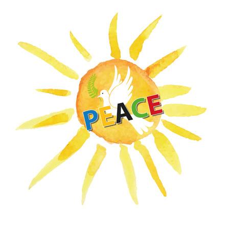 symbol of peace: Día de paz. Paloma blanca de aves dom acuarela y fondo de rayos, letters.Dove coloreado con oliva laurel branch.Vector illustration.Education poster.Friendship, símbolo de paz.
