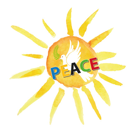 symbol of peace: Peace day. White pigeon bird watercolor sun and ray background,colored letters.Dove with Olive laurel branch.Vector illustration.Education poster.Friendship, peace symbol. Illustration