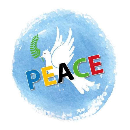 Friedens Tag. Weiße Taube Vogel Aquarell blauen Himmel Textur Hintergrund, farbigen letters.Dove mit Olive Lorbeer branch.Vector illustration.Education poster.Friendship, Friedenssymbol.