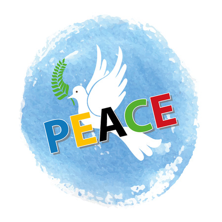 Peace day. White pigeon bird watercolor blue sky texture background,colored letters.Dove with Olive laurel branch.Vector illustration.Education poster.Friendship, peace symbol.