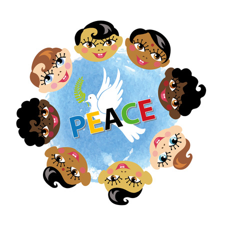 nationalities: Peace day.Faces of children of various nationalities,watercolor blue sky texture,white pigeon with Olive laurel branch.Flat vector illustration.Education poster.Friendship, peace symbol, childhood