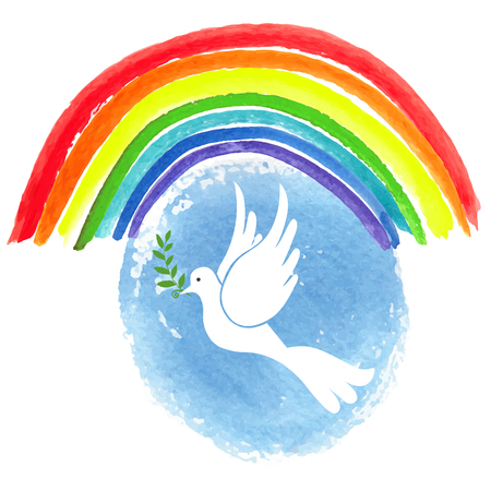 Peace day. White pigeon bird with watercolor blue sky and colored rainbow texture background.Dove with Olive laurel branch.Vector illustration.Education poster.Friendship, peace symbol.