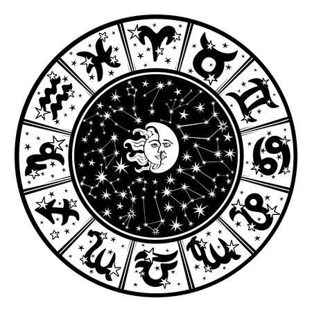 De Horoscoop cirkel met sterrenbeelden en sterrenbeelden van de zodiac.Inside het symbool van de zon en moon.Retro style.Black en witte colors.Vector illustratie Vector Illustratie