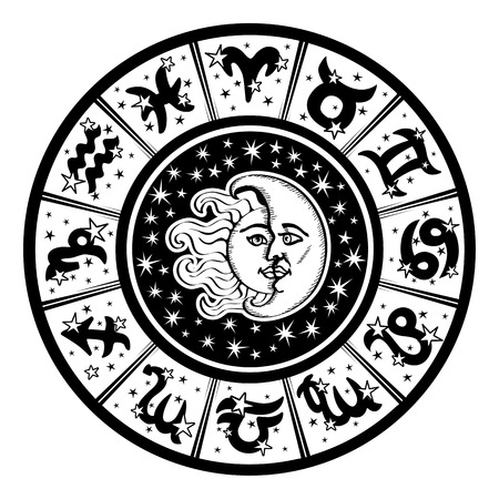 The Horoscope circle with  Zodiac signs and constellations of the zodiac.Inside the symbol of the sun and moon.Retro style.Black and white colors.Vector illustration
