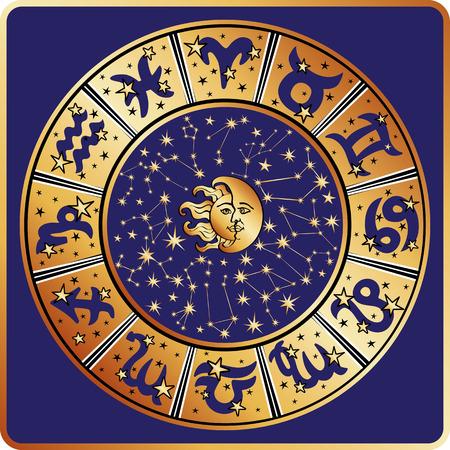 signes du zodiaque: Horoscope cercle avec des signes du zodiaque et les constellations du zodiaque, lune et le soleil sont faces.Inside texte et rond stars.Gold sur le bleu background.Retro style.Vector illustration