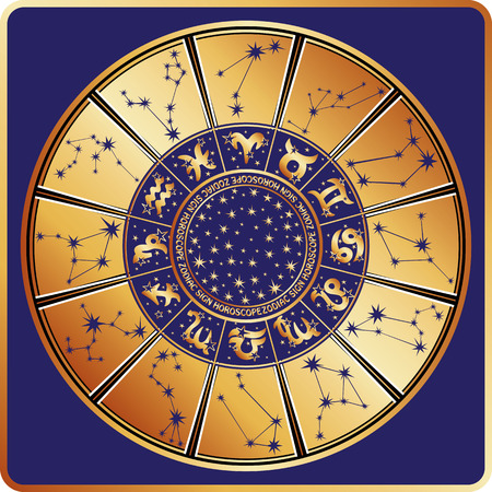 countenance: Horoscope circle with  Zodiac signs and constellations of the zodiac.Inside are text and stars.Gold round on blue background.Retro style.Vector illustration