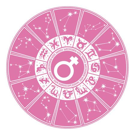 Horoscoop cirkel sterrenbeelden en sterrenbeelden van de zodiac.Inside het symbool van gender character.Design voor women.Pink en witte colors.Vector illustratie