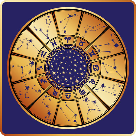 mysticism: The Horoscope circle with  Zodiac signs ,stars and constellationn in round.Retro style.Vector illustration in square Illustration
