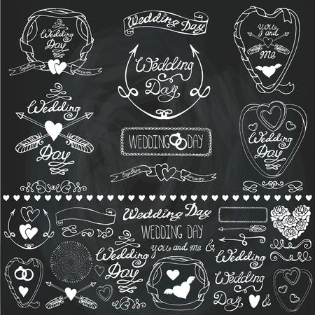 Trouwdag, liefde, romantisch decor elementen set.Ribbon, wervelingen en pijlen, kop voor logo, emblemen en kaart. Doodle hand tekening Vintage vector, retro.Cute uitnodiging maker, bordachtergrond