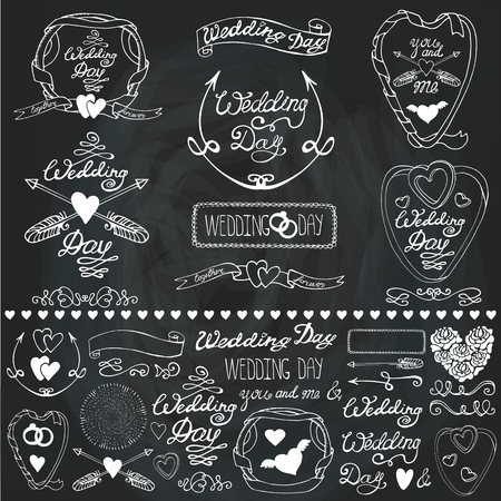 Wedding day,love,romantic decor elements set.Ribbon,swirls and arrows,headline for logo,emblems and card. Doodle hand drawing Vintage vector,retro.Cute invitation maker,Chalkboard background