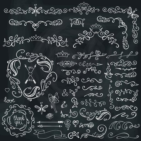 Doodles border,frame,brushes and floral decor elements set on chalkboard.For design template,invitation cards,menu. For wedding,Valentine day,holiday,birthday,Easter.Easy to make  brushes.Vector Ilustração