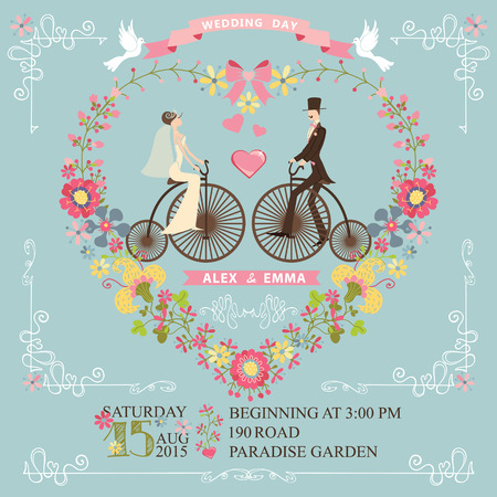 frock coat: Cute wedding invitation with floral wreath in heart form,swirling border.Cute cartoon couple groom and brideon retro bicycle with vignettes,ribbons,pigeons.Vintage Vector design template